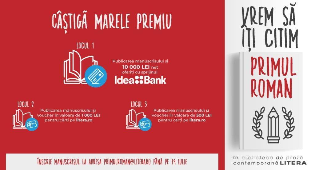 """Participă la concursul de debut literar """"Primul roman"""" și câștigă marele premiu, oferit de Idea::Bank România"""